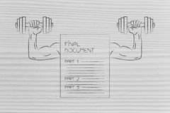 Strong final document with muscled arms lifting dumbbells. Build strong documentation conceptual illustration: final document with muscled arms lifting dumbbells Stock Photos