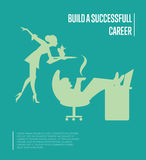 Build successful career banner with secretary Stock Photography