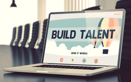 Build Talent on Laptop in Meeting Room. 3D. Royalty Free Stock Photo