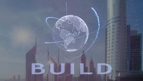 Build text with 3d hologram of the planet Earth against the backdrop of the modern metropolis royalty free illustration