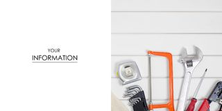 Build tools repair fix pattern. On a white wooden background Stock Photography