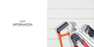 Build tools repair fix pattern. On a white wooden background Royalty Free Stock Photo