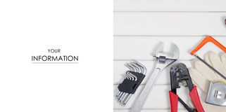 Build tools repair fix pattern. On a white wooden background Stock Photo