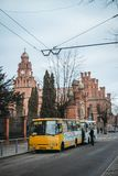 Build ukraine chernivtsi fence, red brick, bus stock images
