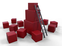 Build up concept - red cubes Stock Photo