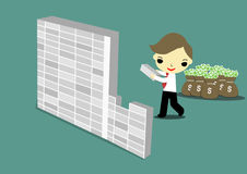 Build wall. Selfish businessman building the wall for hide money Royalty Free Stock Photography
