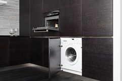 Build-in washing machine and cooker on kitchen Stock Image