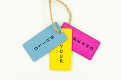 Build your brand. Word build your brand on wooden tag stock photos
