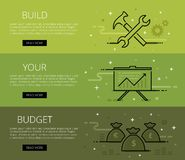 Build Your Budget. Line vector web banners set Royalty Free Stock Images