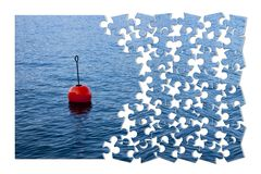 Build your security step by step - Concept image, with red bouy. On a calm lake, in jigsaw puzzle shape stock images