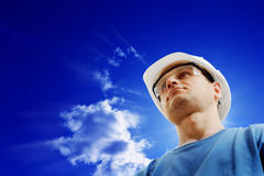 Builder. The builder against the sky Royalty Free Stock Photo