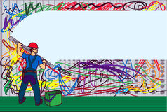 The builder. The person clearing a wall from different spots of a paint Royalty Free Stock Photography