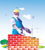 Builder. The builder make a wall from a brick stock illustration