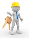 Builder. 3d people - human character, person with a golden key in hand. Builder. 3d render Stock Image