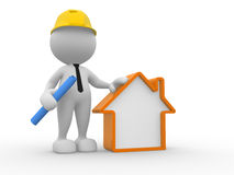 Builder. 3d people - man, person with a house. Builder Stock Photo
