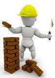 Builder. 3D render of a builder vector illustration