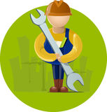 Builder. In front of building and crain Stock Photography