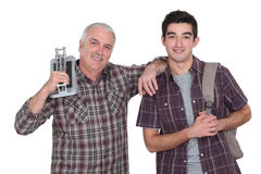 Builder and apprentice Stock Image
