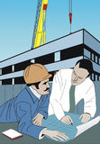 Builder and architect. Teamwork at build-site Royalty Free Illustration