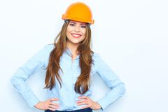 Builder architect business woman with big toothy smile studio p. Ortrait. isolated Royalty Free Stock Images