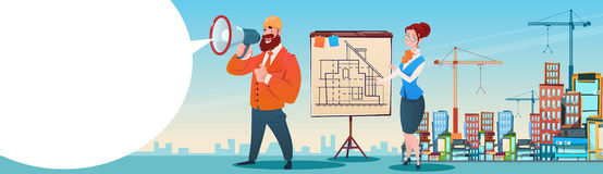Builder Architect Workers Boss Hold Megaphone Present Architecture Drafting City Building Background. Flat Vector Illustration Stock Photos
