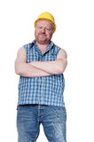 Builder with arms crossed - isolated on white Stock Images