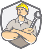 Builder Arms Crossed Wrench Shield Retro Royalty Free Stock Photography
