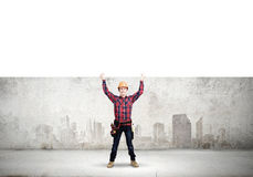 Builder with banner Royalty Free Stock Photos