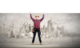 Builder with banner Stock Images