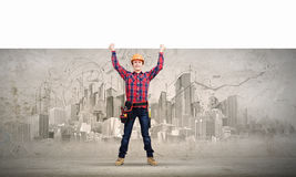 Builder with banner Stock Photography