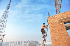 Builder with bare climb on ladder up. Royalty Free Stock Image