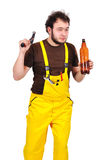 Builder with beer Royalty Free Stock Photography