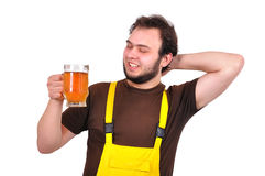 Builder with beer Stock Photos