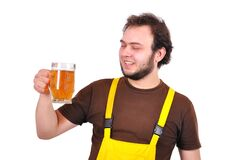 Builder with beer Royalty Free Stock Photo