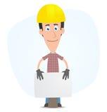 Builder is behind blank board Stock Photo