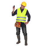 Builder being shouted at stock photo