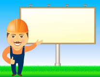 Builder with billboard and grass Stock Photo