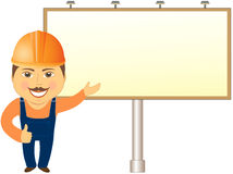 Builder with billboard showing Stock Photos