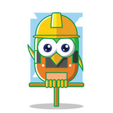 Builder bird with yellow hardhat Stock Photos