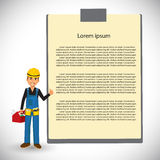 Builder with blank board Royalty Free Stock Image