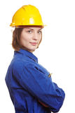 Builder with boiler suit and helmet Stock Photos