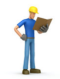 Builder with book Stock Photo