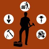 Builder boy. carpenter kid. builder tools set Stock Photography