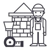 Builder,brick house,meter vector line icon, sign, illustration on background, editable strokes Stock Photography