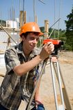 Builder building workplace.level Royalty Free Stock Photos