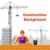 Builder builds brick wall of house. Worker or masonry, work with trowel, man in helmet. Vector illustration. Builder builds brick wall of house. Worker or Stock Image