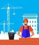 Builder builds brick wall of house. Worker or masonry, work with trowel, man in helmet. Vector illustration. Builder builds brick wall of house. Worker or Royalty Free Stock Photo