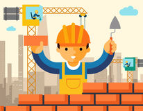 Builder builds brick wall of house Royalty Free Stock Photo