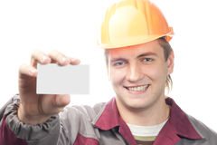 Builder with business card Stock Photography