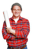 The builder in a cap with a plans Royalty Free Stock Photos